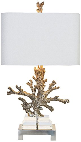Couture Coral Silver and Brushed Nickel Table Lamp (Table Silver Gilt)