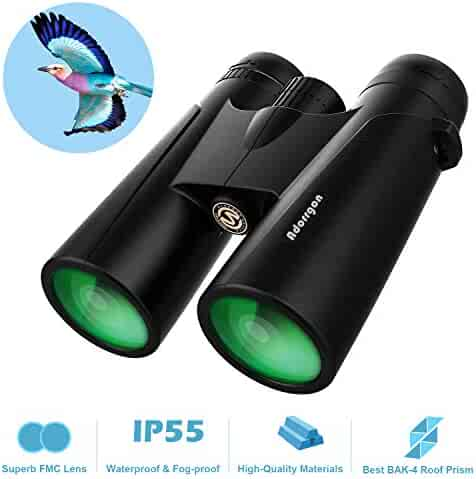 12x42 Roof Prism Binoculars for Adults - Professional HD Binoculars for Birds Watching Hunting Concerts with Clear Weak Light Vision - BAK4 Prism FMC Lens with Strap Carrying Bag (1 pounds)