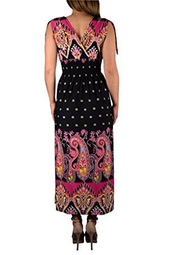 Peach Couture Women`s Summer Exotic Tahiti Polka Dot Print Sleeveless Maxi Dress (Black & Fuchsia/ Large)
