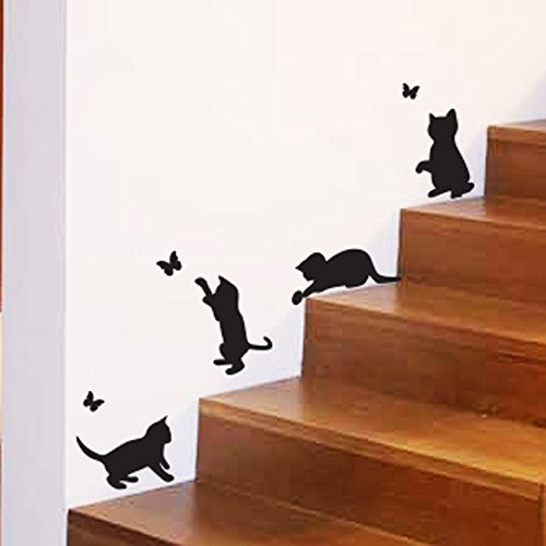 Wall4Stickers® Cats Playing Catching Butterflies Home Vinyl Wall Sticker Decor Decal Mural Kitchen Pets Wallpaper Decoration Kids Room]()