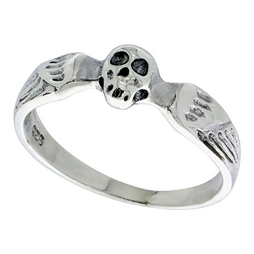 Sterling Silver Winged Skull Ring for Women 3/16 inch size 6 (Skull Winged Ring)