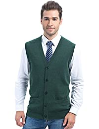 Choies Men's Slim Fit Casual V-Neck Button Down Pocket Cotton Knit Sweater Vest