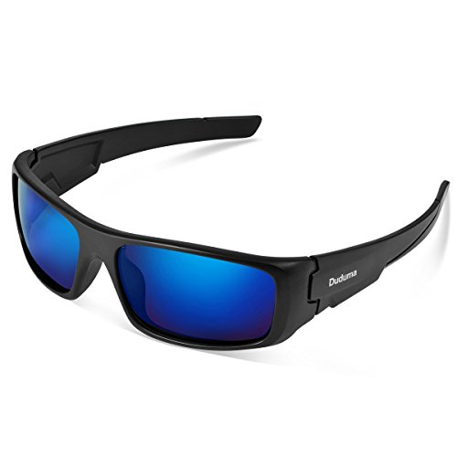 Duduma TR601 Polarized Sports Sunglasses for Men Women Baseball Running Cycling Fishing Driving Golf Softball Hiking Superlight Frame (Black Matte Frame with Blue Lens