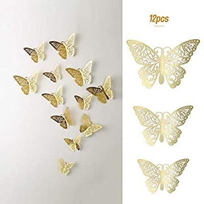 Decdeal 12PCS Butterfly Wall Decals with Glue Dots Kit, 3D Butterfly Wall Stickers Removable Mural Decals Home Decoration for Kids Nursery Bedroom Living Room Decor: Home & Kitchen