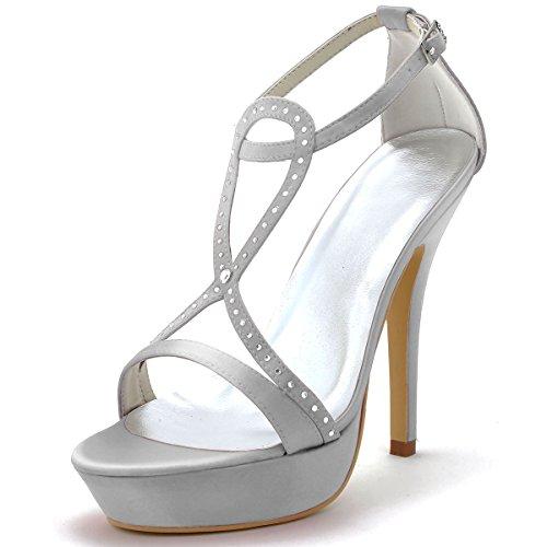 ElegantPark EP2118-PF Mujer Satén Plataformas Sandalias Open Toe Tacón De Aguja Rhinestones Zapatos De Noche Plateado