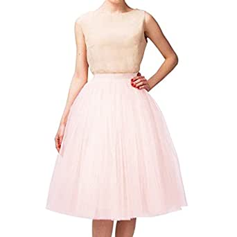 Wedding Planning A Line Short Knee Length Tutu Tulle Prom Party Skirt XXX-Large Light Pink049