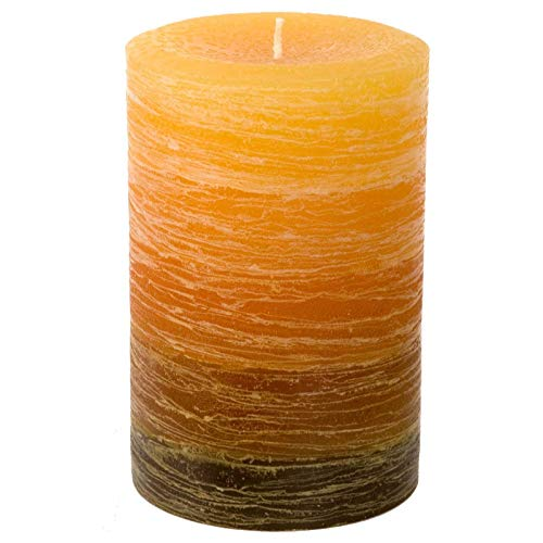 Nordic Candle - Layered Pillar Candle - 4x6 Inch Orange to Brown - Unscented