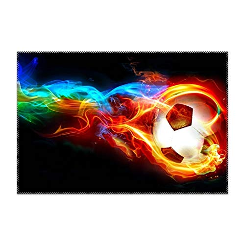 (QIFEN Placemats, Flaming Ball Art Soccer Goal Table Mats,Placemat Non-Slip Washable Place Mats,Heat Resistant Kitchen Tablemats for Dining)