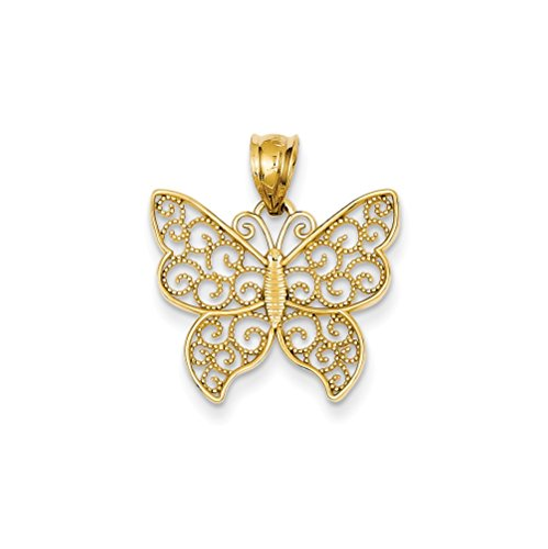 14k Yellow Gold Filigree Butterfly Pendant