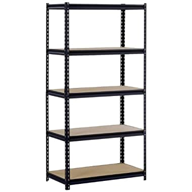 Sandusky/Edsal UR185P/L-BLK Black Steel Heavy Duty 5-Shelf Shelving Unit, 4000lbs Capacity, 36  Width x 72  Height x 18  Depth