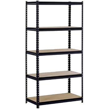 "Sandusky/Edsal UR185P-BLK Black Steel Heavy Duty 5-Shelf Shelving Unit, 4000lbs Capacity, 36"" Width x 72"" Height x 18"" Depth (Does not include post couplers)"