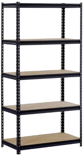 Sandusky/Edsal UR185P-BLK Black Steel Heavy Duty 5-Shelf Shelving Unit, 4000lbs Capacity, 36