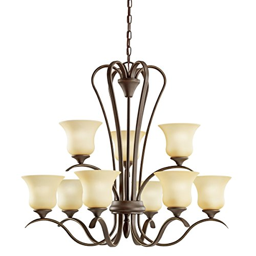 Nine Light Olde Bronze Up Chandelier