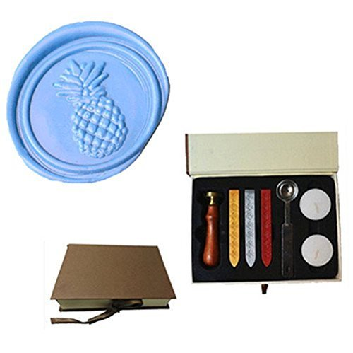 (MDLG Vintage Pineapple Custom Picture Logo Wedding Invitation Wax Seal Sealing Stamp Sticks Spoon Gift Box Set Kit)