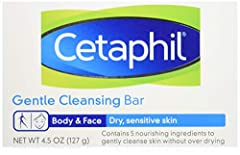 Designed for dry, sensitive skin, Cetaphil Gentle Cleansing Bar cleanses without irritation and moisturizes as it cleans to leave skin hydrated, smooth, and soft. This mild, soap-free bar is free of harsh detergents that might dry or irritate...