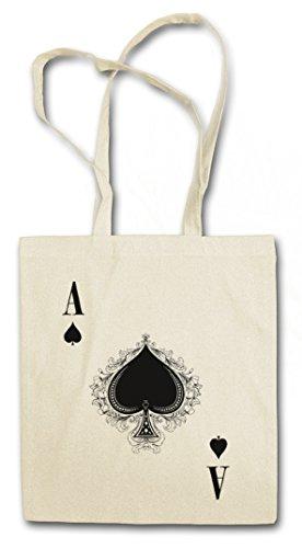 ACE OF SPADES III Hipster Shopping Cotton Bag Cestas Bolsos Bolsas de la compra reutilizables - Culo Spade Ace Poker As Card Casino Las Karte Royal Flush Pik Cards 23 Vegas