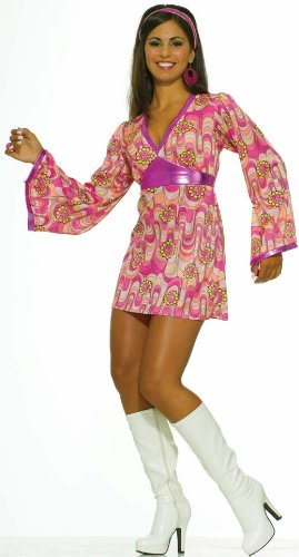 Forum 60S Revolution Go-Go Flower Power Dress, Pink/Yellow, X-S/S Costume