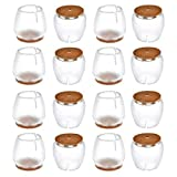 Chair Leg Caps Round, WarmHut 16pcs Transparent Clear Silicone Table Furniture Leg Feet Tips Covers, Felt Pads, Prevent Scratches, Wood Floor Protector (Round)
