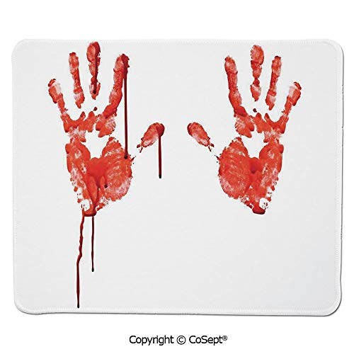Premium-Textured Mouse pad,Handprint Like Wanting Help Halloween Horror Scary Spooky Flowing Blood Themed Print,for Laptop,Computer & PC (15.74