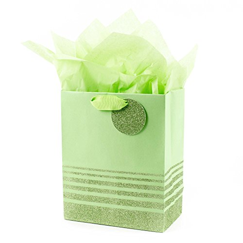 (Hallmark Medium Gift Bag with Tissue Paper for Birthdays, Baby Showers, Weddings or Any Occasion (Green Stripes))