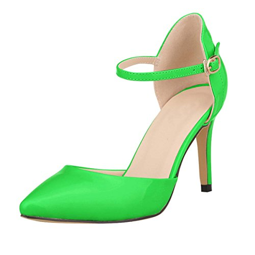 HooH Women's D-orsay Ankle Strap Stilleto Wedding Sdandal Green 0a5gnKti