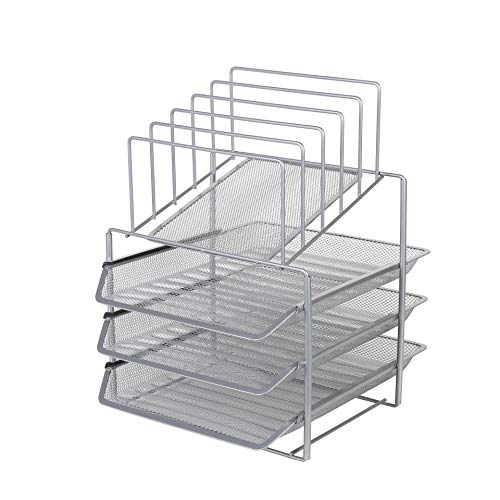Exerz Desk Organizer Wire Mesh 3 Layer Sliding Letter Trays with 5 Upright Sections/Dividers/Paper Sorter/Desk Multifunctional File Holder Filing Shelves for Office, School (EX2428-SLV)