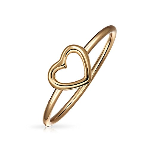 Gold Open Heart Ring (Bling Jewelry Thin Rose Gold Plated 925 Sterling Silver Open Heart Ring)