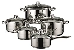 Elo Skyline Stainless Steel Kitchen Induction Cookware Pots & Pans Set With Air Ventilated Lids, 10-piece