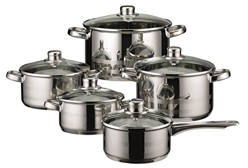 ELO Skyline Stainless Steel Kitchen Induction Cookware Pots and Pans Set with Air Ventilated Lids, 10-Piece (Type Of Cookware For Glass Top Stove)