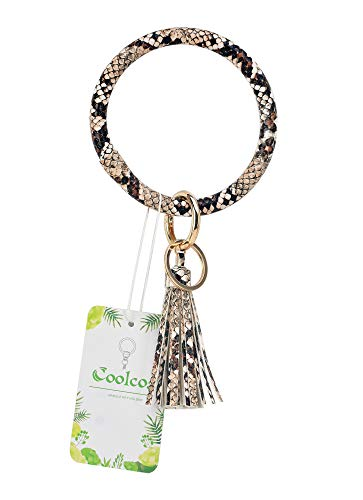 Coolcos Wristlet Keychain Bracelet Bangle Keyring - Large Circle Key Ring Leather Tassel Bracelet Holder For Women Girl (A Lmited Edition Snakeskin)