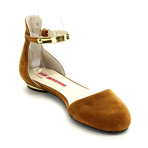 C-LABEL SWOON-4 Women's Suede Almond Toe Ankle Strap Flats Shoes,CAMEL,7