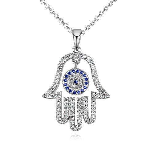 Meiligo Fashion Womens Hip-hop Blue Evil Eye Necklace Jewelry Rhinestone Protective Hand of Fatima Palm Pendant Necklace (Rhinestone - Silver) ()