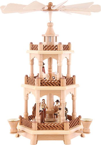 3-tier pyramid Nativity scene natural wood - 42cm /16.5 inch - Dregeno Seiffen