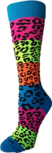 Rainbow Leopard Print - TCK Sports Neon Rainbow Fun Print OTC Socks (Leopard Print, Medium)