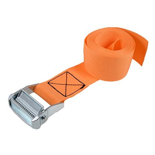 uxcell 荷物ストラップ ラチェット式 ベルト 荷物固定ロープ 荷物落下防止 オレンジ ポリプロピレン 亜鉛合金 カムロックバックル付き 500Kg作業負荷 2.5Mx5cm 2個入り