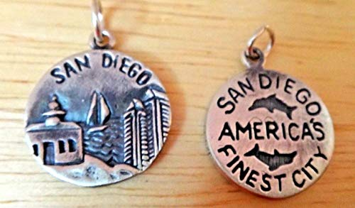 1 Sterling Silver 16mm San Diego says America's Finest City California Charm Vintage Crafting Pendant Jewelry Making Supplies - DIY for Necklace Bracelet Accessories by CharmingSS