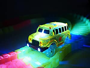 New Universal Only Car Set For Magic Track Glow In The Dark With 5 Led Light Up Police , Fire Truck and School Bus Tracks 3 Pack