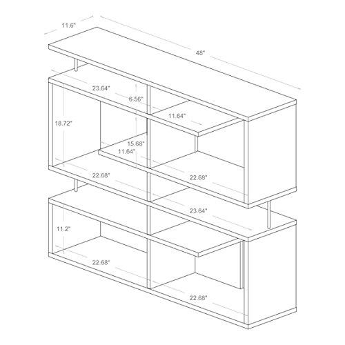Storage Shelf/ Bookshelves Contemporary, Modern Milo Dark Brown/ Espresso Modern Storage Shelf - Assembly Required FP-5M-Tier Display (3A). 47.25 in High x47.25 in Wide x 11.5 in Long