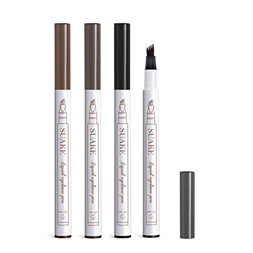 4 Pack Eyebrow Pencil, Long-lasting Waterproof Eyebrow Tattoo Pen, Microblading Eyebrow Pen with a Micro-Fork Tip Applicator For Fuller Natural Looking Brows