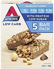 Atkins Chocolate Hazelnut Crisp Bars | Keto Friendly Bars | 5 x 37g Low Carb Chocolate Hazelnut Bars | Low Carb, Low Sugar, High Protein, High Fibre | 5 Bar Pack