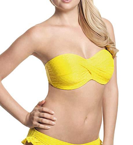 Padded Twist Bandeau - Cleo by Panache Matilda Underwire Padded Twist Bandeau Bikini Top (CW0083),36D,Yellow