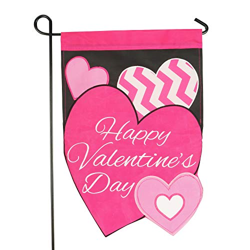LAYOER Home Garden Flag 12 x 18 inch Applique Embroidered Heart (Happy Valentine's Day) ()