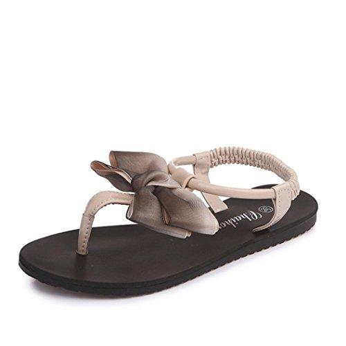 LHWY Sandalen Damen Zehentrenner Frauen Flache Sommer Strand Schuhe Bowknot Bohemia Freizeit Sandalen Peep-Toe Flip Flops Rutschfest Schuhe Mädchen Fashion (37, Khaki)
