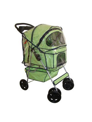 BestPet Pet Stroller Cat Dog 4 Wheel Walk Travel Folding Carrier W/Rain Cover