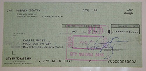 Warren Beatty Hand Signed Autographed Personal Check # 607