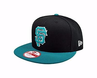 New Era MLB 9fifty Hat San Francisco Giants League 2Tone Basic Black/Aqua Snapback Cap M/L