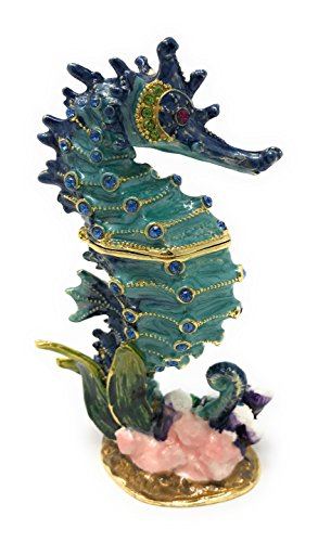 Kubla Craft Enameled Blue Seahorse Trinket Box by, Accented with Austrian Crystals, 4.25T (Austrian Crystal Fish)