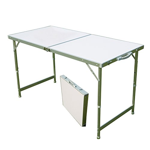 AceLife Aluminum Folding Camping Table with Carrying Handle, Portable and Height Adjustable (Round Table Extending To Oval)