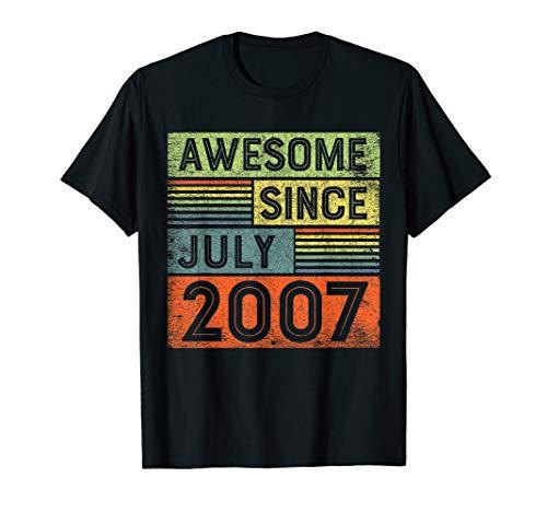 - Awesome Since July 2007 12th Birthday Shirt Boy T-Shirt