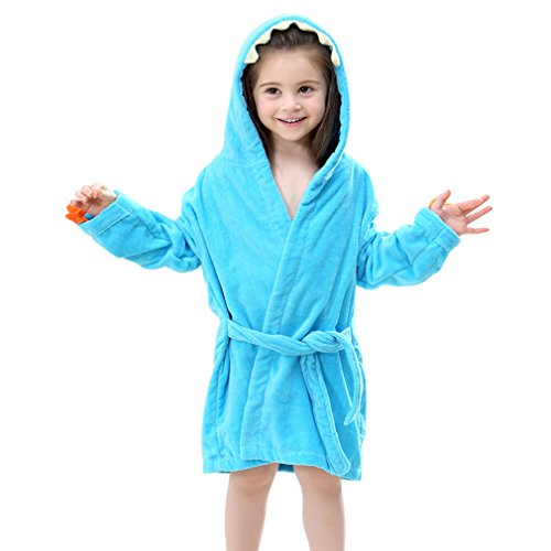 IDGIRL Toddler Cotton Bathrobe Baby Boy Girl Dinosaur Hooded Bath Towel Robe for Kids Blue 3-5 Year